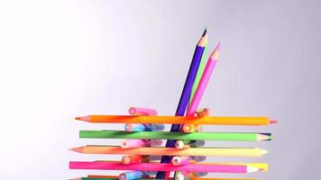 Colorful pencils in holder video
