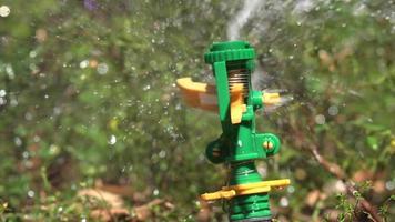 Agua, rociadores, césped, césped, mecanismo, spray, húmedo, verano, primavera, mecánico, video