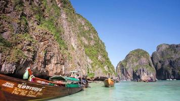 thailand summer day phi phi don famous tourist beach boats 4k time lapse video