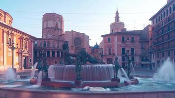 Spagna sole luce valencia cattedrale piazza fontana 4k lasso di tempo video