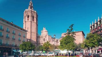 Spagna valencia giornata di sole Piazza Duomo 4k lasso di tempo video