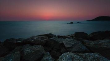 4K Timelapse Sunset, Sunrise on Ocean Beach, Sea View . Waves Time Lapse in Thailand, Twilight Sea Sun Landscape on CHUNTABURI, Thailand