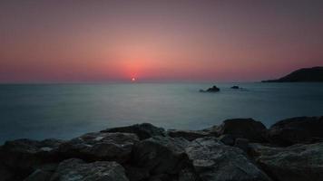 4K Timelapse Sunset, Sunrise on Ocean Beach, Sea View . Waves Time Lapse in Thailand, Twilight Sea Sun Landscape on CHUNTABURI, Thailand video