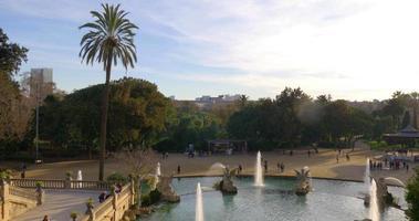 parc de la ciutadella tramonto vista panoramica 4K spagna barcellona
