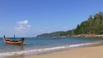 Tailandia verano día aeropuerto playa barco turístico parque panorama 4k phuket video