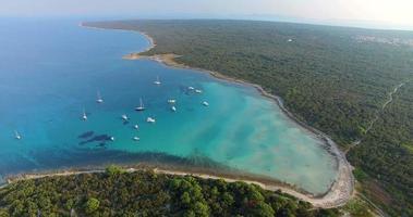 Aerial view of yachts in Slatinica bay at Olib Island in Croatia