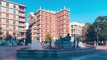 Spagna sole luce valencia cattedrale piazza fontana 4k lasso di tempo