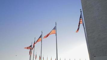 video girato a washington dc bandiera americana intorno all'obelisco