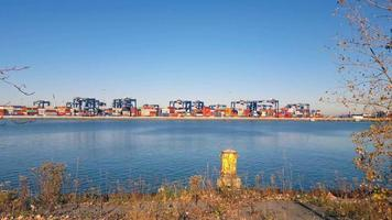 Shipping Containers movement at Port Yard Time Lapse 4K video