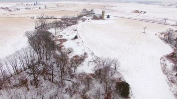 Aerial tour over snowy rural Wisconsin in Winter video