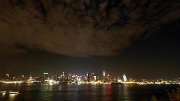 New York City Skyline and Clouds at Night Time Lapse 4K video