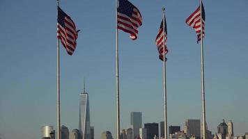 bandeiras americanas e horizonte da cidade
