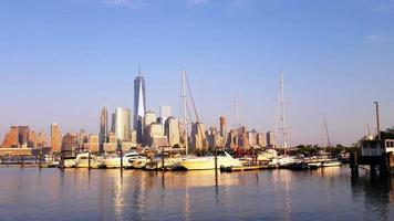 Marina Yachts and Downtown Manhattan View 4K
