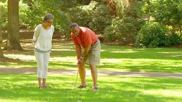 Mature Black Friends Playing Croquet Outside in a Park