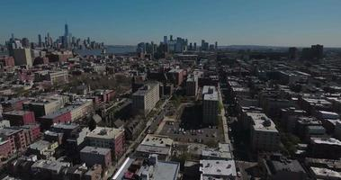 hoboken nj panorámica vista izquierda de rascacielos con manhattan a la vista