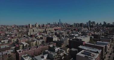 Hoboken, Nueva Jersey, edificios elevados aéreos hacia el centro de Manhattan