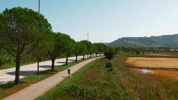 4k aérea: moto vermelha na estrada local video