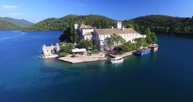 Aerial view of motorboat on Mljet island, Croatia video