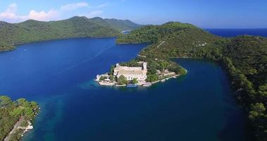 Aerial view of Benedictine monastery on Mljet island, Croatia video