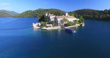 Aerial view of catamaran on Mljet island, Croatia video