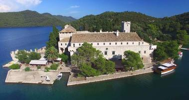 Aerial view of Benedictine monastery on the island of Mljet, Croatia video