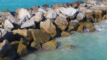 USA summer day miami south beach rock pier ocean 4k florida video