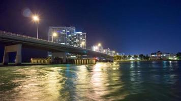 USA night light miami beach bridge golfo pass 4k time lapse florida