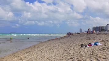 USA summer day miami south beach round panorama 4k florida video