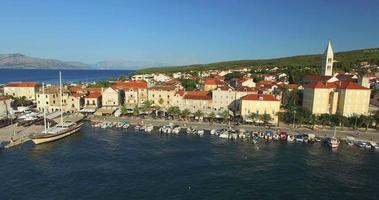 Aerial view of Supetar marina on Island of Brac