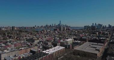 Hoboken NJ Aerial View Over Buildings Heading Towards Downtown Manhattan video
