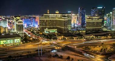 las vegas skyline panoramique nuit time lapse