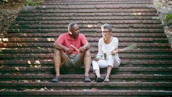 Mature Black Friends Talking While Sitting on Stairs in a Park