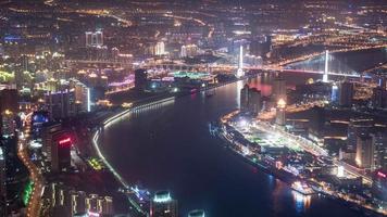 lapso de tiempo del paisaje urbano de shanghai 4k
