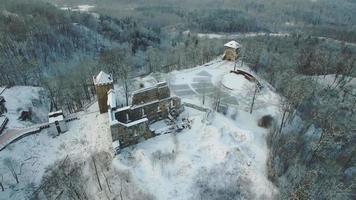 Vue aérienne sur les ruines du château médiéval de Sigulda