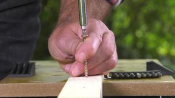 posa di una vite da legno con un cacciavite elettrico