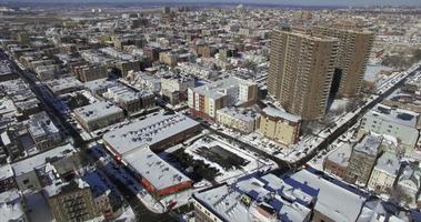 weehawken snow 2016 vista aerea con edifici gemelli video