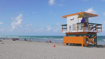 USA summer day miami south beach lifeguard tower 4k florida video
