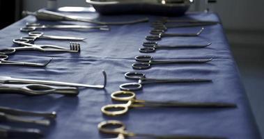 Close-up de herramientas quirúrgicas en bandeja video