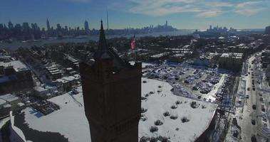 Weehawken Snow 2016 American Flag 360 view on top of building