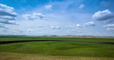 4k time-lapse, paisaje natural de pastizales de mongolia interior
