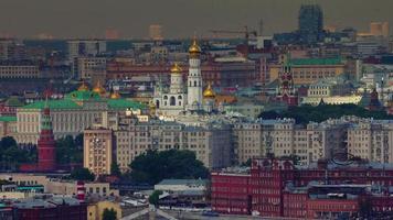 Russia Mosca crepuscolo Chiesa vista città tetto panorama superiore 4K lasso di tempo video