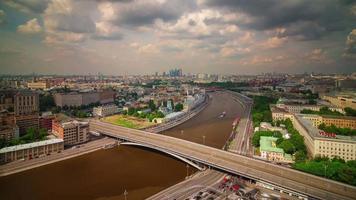 Russia Mosca fiume tramonto inverno giorno estate acqua traffico 4k lasso di tempo video