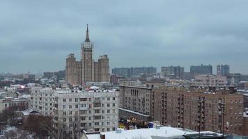 Russia Mosca inverno crepuscolo tetto panorama paesaggio urbano superiore 4K lasso di tempo