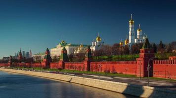 russia sunset light moscow river bay kremlin panorama 4k time lapse