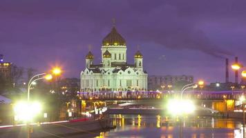 russia moscow sunset cathedral of christ the saviour 4k sunset time lapse