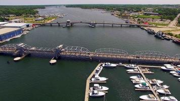 Scenic Aerial View of Sturgeon Bay Wisconsin, River, Bridges