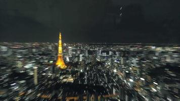 zoom in and out of Tokyo tower with cityscape