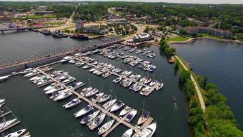 Scenic Aerial View of Sturgeon Bay Wisconsin, Waterfront, Bridges