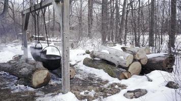 maple suryp fire winter in ontario 4K video