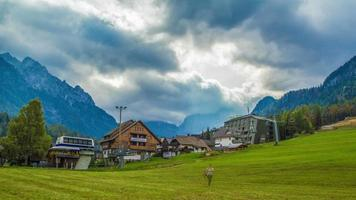 Time lapse of mountain landscape with touristic buildings video